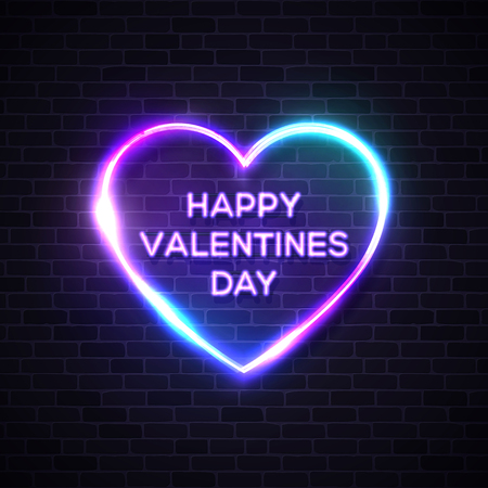 Happy Valentines Day. Neon letters on heart shape glowing background. 80s retro banner template. Night club electric light signboard. Dark brick wall. Party invitation poster flyer vector illustration