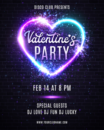 Valentines Day party poster or flyer design with neon lights effect. Decorative vector template of invitation, flyer or greeting card with neon heart frame.