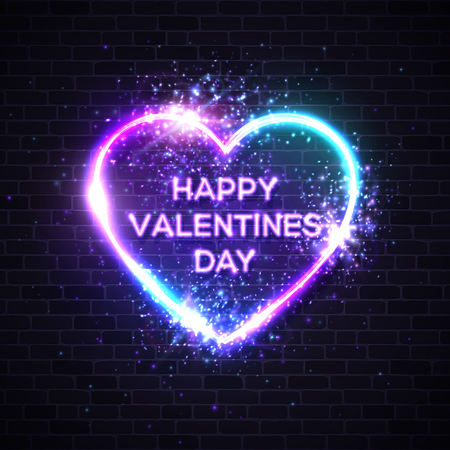 Happy Valentine`s Day background with neon text. Glowing heart shape frame with light explosion glitter sparkle on brick texture wall. Night street signboard. Electric led lamp vector illustration. Ilustrace