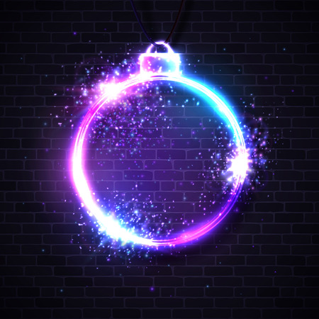 Christmas neon sign. Xmas decoration vector background.