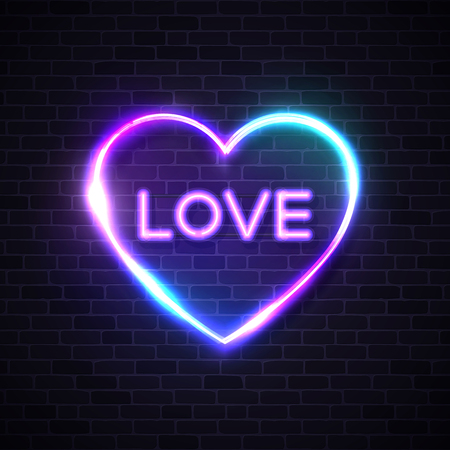Greeting card with sign love on brick background for promotion banner party poster, t shirt, valentine decoration stamp label. Neon heart signboard. Night club vector illustration.