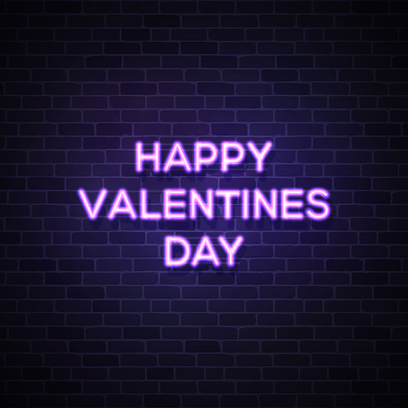 Happy Valentines Day text. Street neon sign on dark blue brick wall. Valentines card with glowing neon letters. 80s style vector illustration. Ilustrace