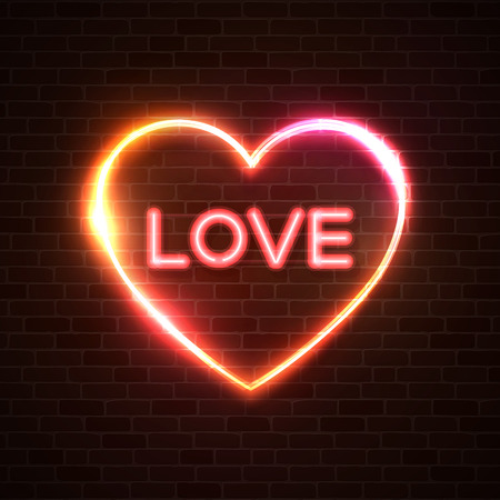 Valentines Day neon sign. Word Love on dark brick wall red heart background. Glowing letters night club 80s style frame. Happy Valentines Day design element. Greeting card, banner vector illustration