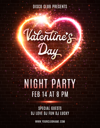 Valentines day party poster template design on dark red brick wall background. Night disco dance party flyer in retro 80s style. Led neon lights heart with hand drawn text. Bright vector illustration.