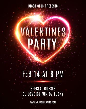 Valentines Day Party flyer or poster design template on dark red backdrop. Illuminated glowing heart background with light explosion particles stars. Electric led neon sign. Bright vector illustration