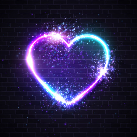Valentines background with retro neon light heart sign. Led lamp border particles sparkles light flashes on dark brick wall. Valentines Day greeting card design element. Electric vector illustration.