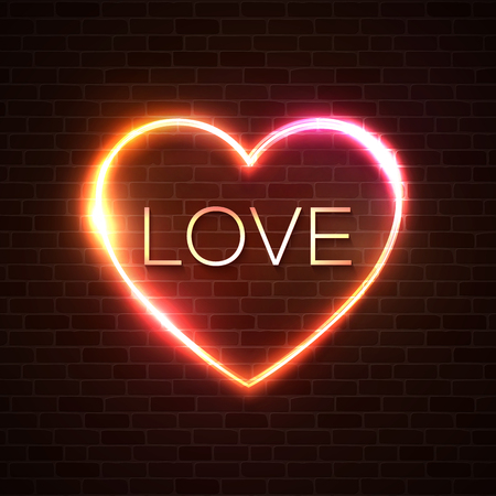 Neon sign, the word Love with heart shape frame on brick wall. Design element for Happy Valentines Day on dark red heart background. Greeting card, banner design. Bright glamour vector illustration. Ilustrace