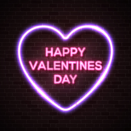Happy Valentines Day neon lettering text in bright glowing electric heart shape frame. Street neon sign on dark brick wall background. Valentines card with neon letters. 80s style vector illustration
