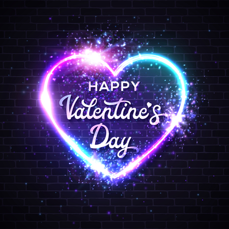 Valentines Day card with 3d graphic realistic heart shape neon sign. Greeting card template decoration and covering on brick wall background. Hand lettering card. Bright heart vector illustration. Ilustrace