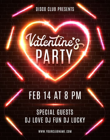 Valentines Day Party flyer design on dark red brick wall. Bright vector template of invitation, flyer, poster or greeting card.