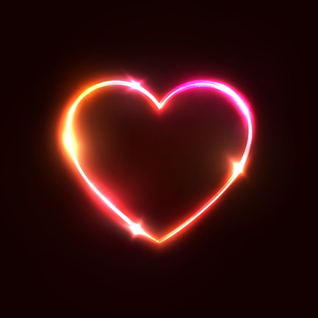 Heart background. Halogen or led light neon sign on dark red. 3d geometric heart shaped frame. Glamour love backdrop. Element design for Valentines Day card, flyer, banner. Bright vector illustration.