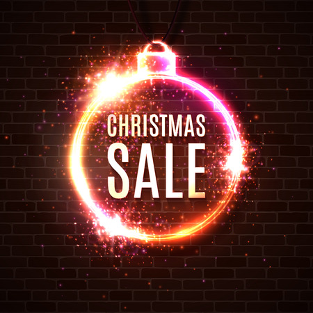 Christmas sale discounts banner. Neon style illuminated card postcard on dark red brick wall. Neon sign luminous poster night advertising Christmas sales street signboard. Bright vector illustration.