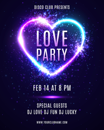 Valentines Day party design template for flyers banners. Abstract heart background with neon light. Dance Love party poster with electric heart shape frame. 80s style bright vector illustration.