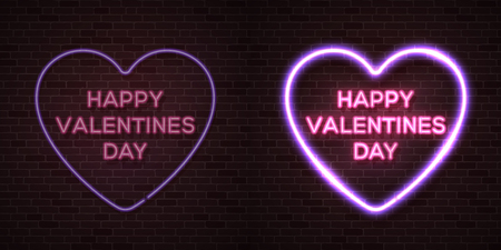 Happy Valentines Day card with neon letters. Heart shape glowing electric frame. Turn on and off signs set for animation effect on dark red brick wall. Design elements for vector animated banner flyer
