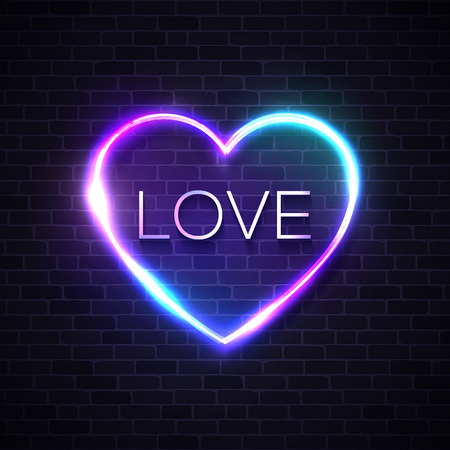 Love background. Neon lights sign design element for Happy Valentines Day card banner flyer. Love heart shape frame on texture brick wall. Bright vintage glamour vector illustration in 80s retro style Ilustrace