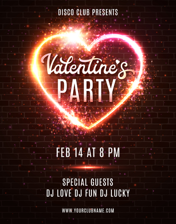 Valentines Day Party poster or flyer design template on dark red brick wall. Electric wire hart frame. Night club retro music dance event in 80s style. Bright neon vector illustration of invitation.