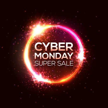 Cyber Monday super sale. Discount card design in neon style. Online shopping, marketing concept. Round shape sale banner vector illustration. Luminous circle signboard. Bright advertising background.