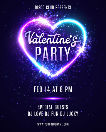 Valentines Day party poster design template for flyers banners. Abstract heart background with neon light. Disco dance love vertical card with electric heart shape frame. Bright vector illustration.