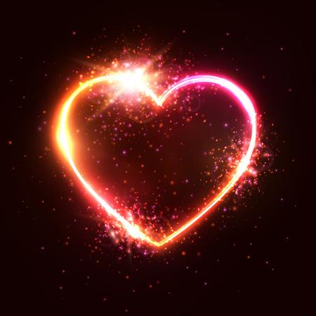 Heart background. Element design for Happy Valentines Day. Neon sign. Retro heart shaped halogen or led lamp signboard on dark red backdrop. Valentine greeting card, banner flyer vector illustration.