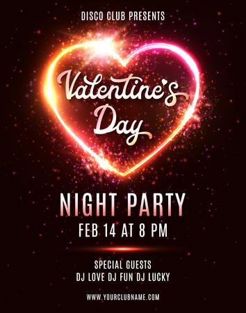 Valentines Day Party poster or flyer design template on dark red background. Electric wire heart frame. 80s style night club disco music dance event. Bright retro neon vector invitation illustration.