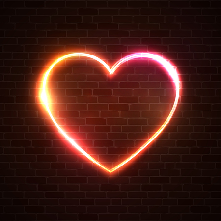 Heart vector background. Abstract electric line halogen or led lamp element design. Heart shape light neon sign. Wire cabling glowing banner. Love romance concept. Valentines Day holiday illustration. Ilustrace