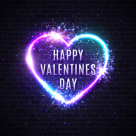 Valentines Day card. 3d realistic heart shape neon sign. Greeting card template decoration on brick wall background with glitter light flash sparkle falling confetti. Bright heart vector illustration. Ilustrace