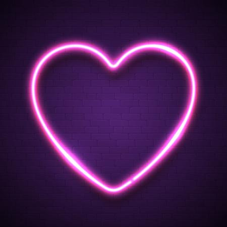Pink heart background on dark violet brick wall. Ilustrace