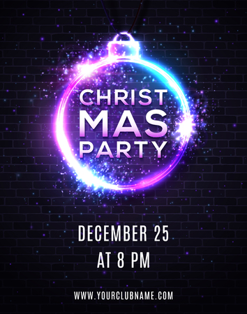 Christmas Party poster design template with neon light effect. Xmas decoration circle shape frame on dark brick texture. Glowing electric led lights round border with text Colorful vector illustration Ilustrace