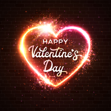Happy Valentines Day card. Script lettering inscription. Hand lettering heart background. Modern calligraphy design. Valentine day love beautiful neon sign. Brick wall vector abstract illustration. Illustration
