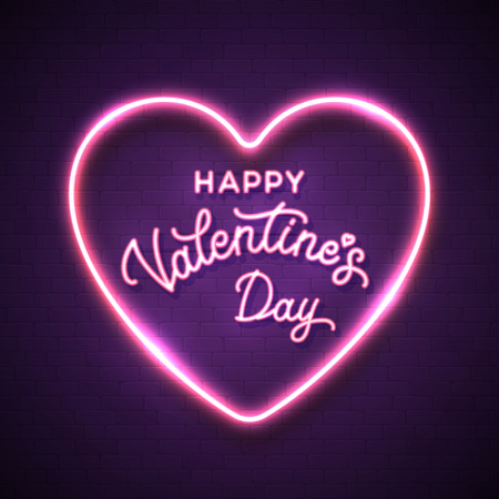 St. Valentines day background. Neon style romantic hand lettering greeting card. Glowing pink heart frame on violet brick texture wall. Electric festive border. Bright neon colors vector illustration.