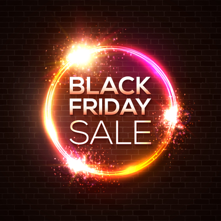 Black Friday sale concept. Circle neon on dark red brick wall background. Discount card, poster, sale banner design. Bright colors realistic 3d sign. Decoration or covering vector illustration.
