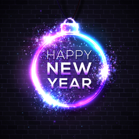 Happy New Year dark background. Decorative neon sign. Light banner. Celebrating retro disco night club party invitation design template. New Year eve greeting card. Colorful vector illustration. Reklamní fotografie - 125099714