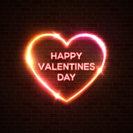 Happy Valentines Day neon background. Romantic color card design with 3d glowing neon letters, stars sparkles and heart shape border. Light banner love glowing frame vector illustration in 80s style.