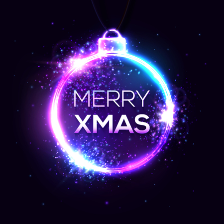 Merry Xmas background. Electricity abstract neon sign, light banner bright light signboard. Greeting card with neon text. New Year, Christmas decoration shape frame vector illustration