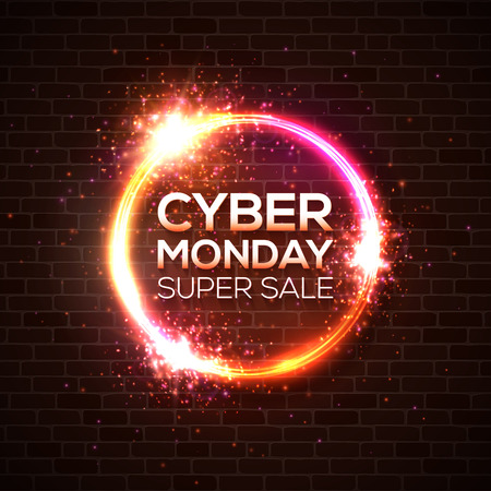 Cyber Monday super sale, discount card concept design. Neon style online shopping marketing concept on dark brick red background. Bright colors vector illustration. Neon signboard glowing light banner
