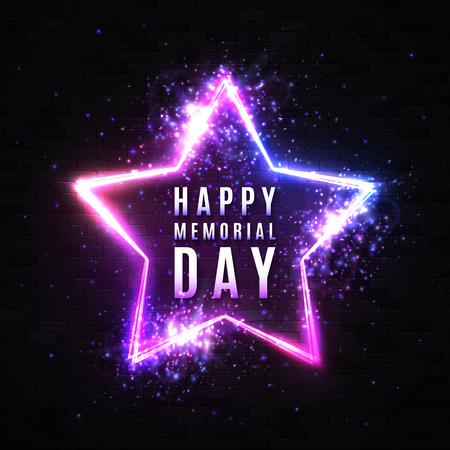 Happy Memorial Day. Neon sign on brick black background. USA holiday greeting card. Stars background with electricity effect glitter confetti. Memorial Day light banner. Dark night vector illustration Reklamní fotografie - 124886594