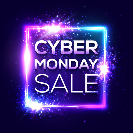 Cyber Monday sale banner. Fashionable neon style, luminous technology signboard. Nightly advertising online shopping concept. Advertisement of sales rebates of Cyber Monday. Bright vector illustration 写真素材 - 124886596