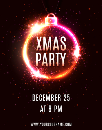Xmas Party poster design template. Decorative Christmas decoration shape electric frame. Holiday technology background with luminous circles for flyer banner invitation. Bright vector illustration. Ilustrace