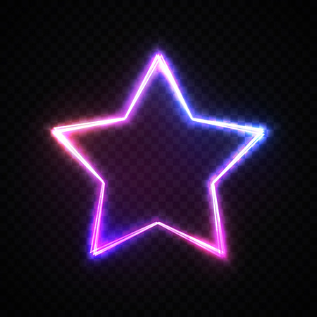 Colorful stars background on transparent backdrop. Glowing electric bright star shape frame. Military concept. Patriotic USA banner flyer card. Neon 80s style vector illustration.