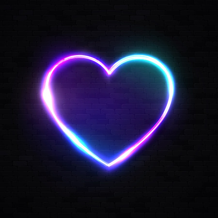 Neon 80s style heart background on black brick wall. Bright electric technology frame. Blank text space. Illuminated signboard on dark backdrop. Color vector illustration.
