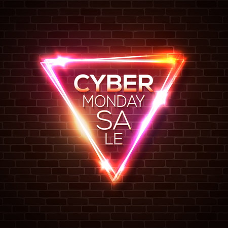 Cyber Monday Sale promo vector background. Neon light led lamp retail promotion banner abstract geometric design. Final clearance on holidays season. Ilustrace