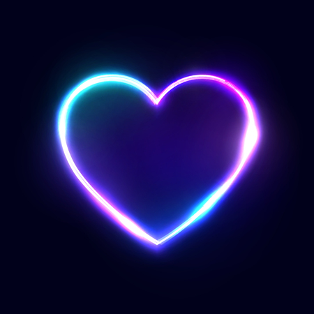 Neon 80s style heart vector abstract background on dark blue backdrop. Bright electric technology frame. Blank text space. Illuminated signboard. Color vector illustration. Ilustrace