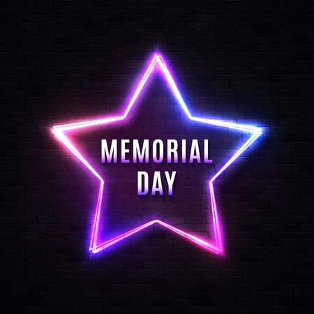 Memorial Day banner on black brick wall. Neon light led lamp star background. Patriotic USA design template with glowing text. Bright colorful vector illustration for American national event.