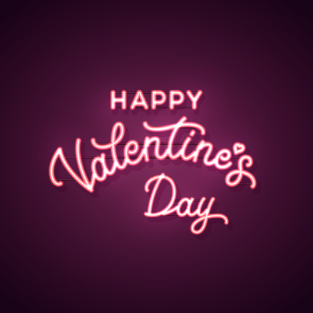 Happy Valentines Day text. Vector neon sign. Valentines card. Ilustrace