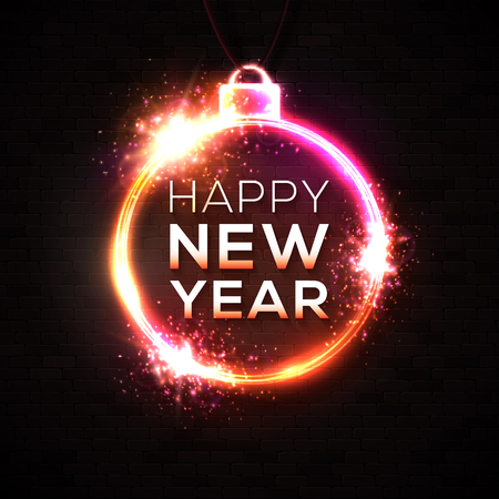 Happy New Year neon light text. New Year design template for seasonal flyers, greetings card or Christmas invitations on black brick wall. Night club disco sign. Glowing banner vector illustration. Ilustrace
