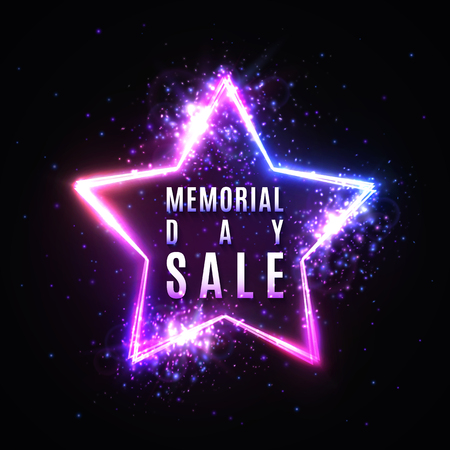 Memorial day sale text in glowing star shape neon sign with particles stars light flash. Discount card or flyer template. Memorial Day banner design. Colorful vector illustration on dark background.