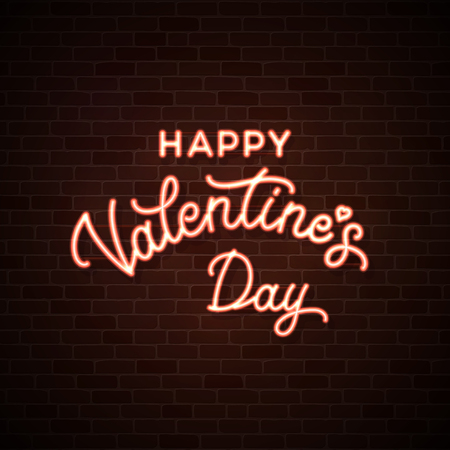 Happy Valentines Day. Neon wire lettering inscription on dark red brick wall background. Glowing pink cable illuminated text. Valentines card design decoration. 1980 style bright vector illustration.