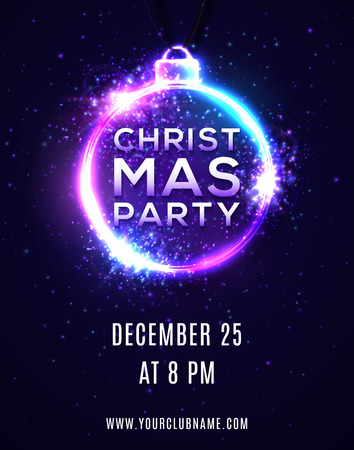 Christmas party background or poster template. Brochure flyer banner design. Xmas disco dancing music party invitation in 80s neon style with particles light flashes stars. Bright vector illustration. Ilustrace