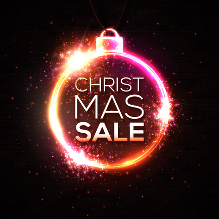 Christmas sale discounts banner. Neon style illuminated card postcard on dark black brick wall. Neon sign luminous poster night advertising Christmas sales street signboard. Bright vector illustration Ilustrace