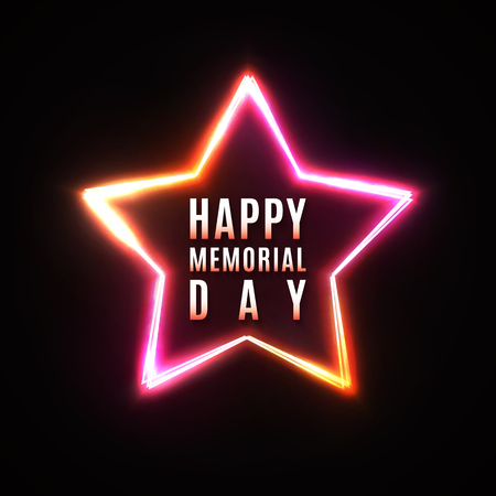 Happy Memorial Day greeting card on dark star background. USA national event banner. Memorial Day design in 80s neon style. Star frame. Greeting Card.